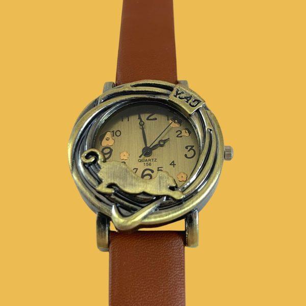Montre-bracelet vintage cadran chat