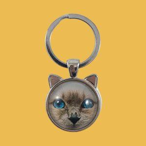 Porte-clés cabochon chat