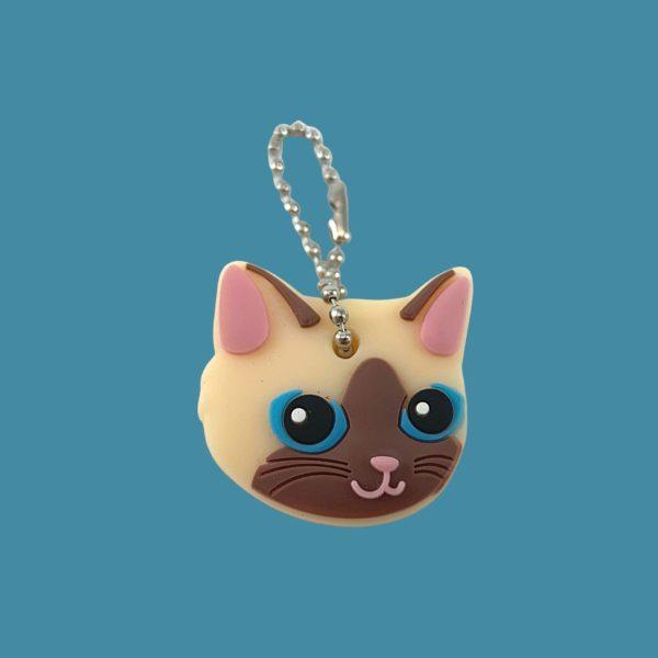 Protège-clés tête de chat en caoutchouc souple