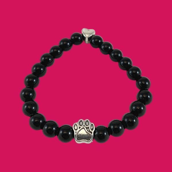 Bracelet pierres naturelles et breloques en métal d'empreinte de patte et coeur