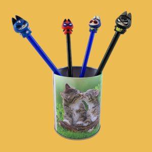 Lot de 4 stylos à engre gel Super Héros Chats Catvengers