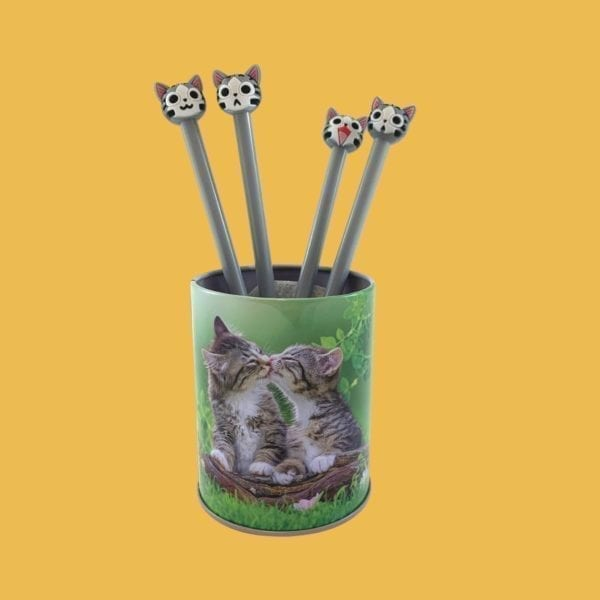 Lot de 4 stylos à encre gel chat style Kawaï assortis